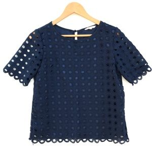 ADOVA Royal Blue Top Embroidered 3/4 Sleeve